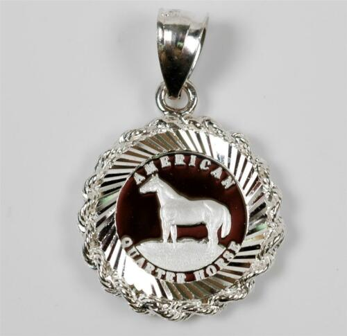 14mm 1//20 .999 SILVER  Quarter Horse Coin in S//S Rope Bezel