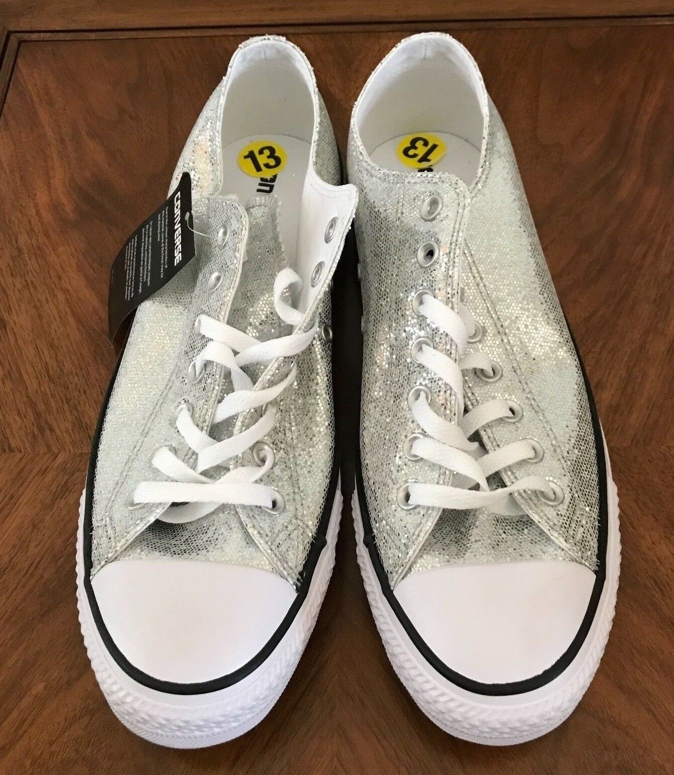 Converse All Star Chuck Taylor Sneakers Silver Glitter Sparkle Womens 13 Shoes