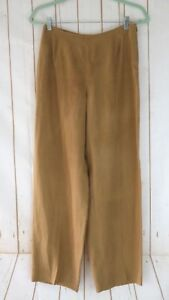 Armani-Collezioni-Pants-S-Light-Brown-Linen-Side-Zip-Sheer-Hi-Rise-Italy