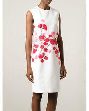 $2,475 Giambattista Valli Red Carnation Print Fitted Dress,size 42