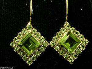 CE165-SUPERB-Genuine-9ct-9K-Solid-Gold-NATURAL-Peridot-Square-Drop-Earrings