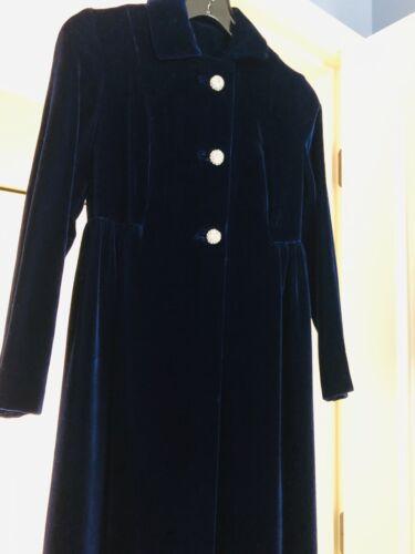 XS 1940s Coat Blue Velvet Opera Wedding Maxi Coat