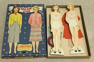 Vintage-034-Teen-Time-Dolls-034-2-Girls-w-Cut-Out-Clothes-Circa-1950-039-s-Not-Repro