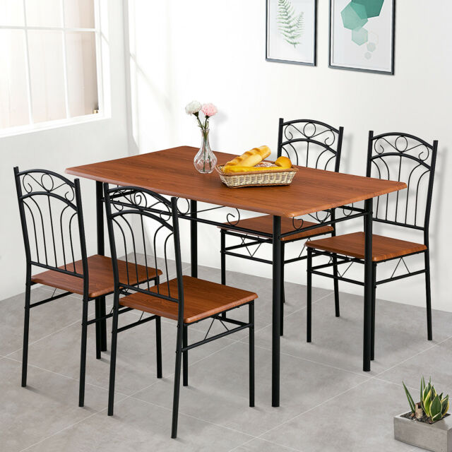 5 Pieces Dining Table Set Desk W 4 Chairs Wood Top Kitchen Room Metal Frame For Sale Online