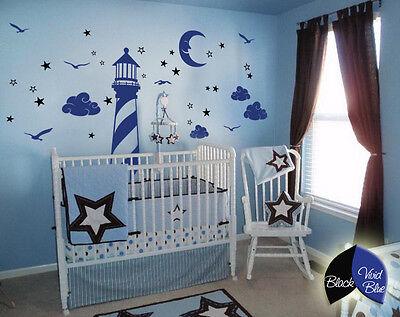 Nautical wall decal lighthouse moon stars clouds wall decal nursery decor KR054