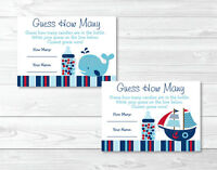 Pirate Ship Nautical Whale Printable Baby Shower guess How Many? Game Cards