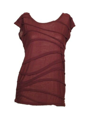 Womens Ladies Day New Tee T Shirt Top Soft Knit Wine Day Soft UK Burgundy Size 6