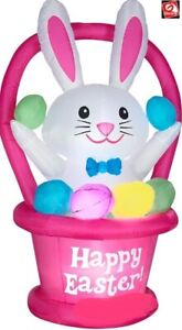 EASTER BUNNY IN BASKET EGGS  AIRBLOWN INFLATABLE YARD DECORATION 6 FT GEMMY