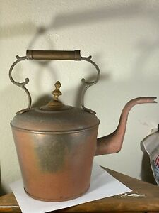 Ethan-Allen-Signed-Vintage-Hammered-Copper-amp-Brass-Kettle-Large-Oversized