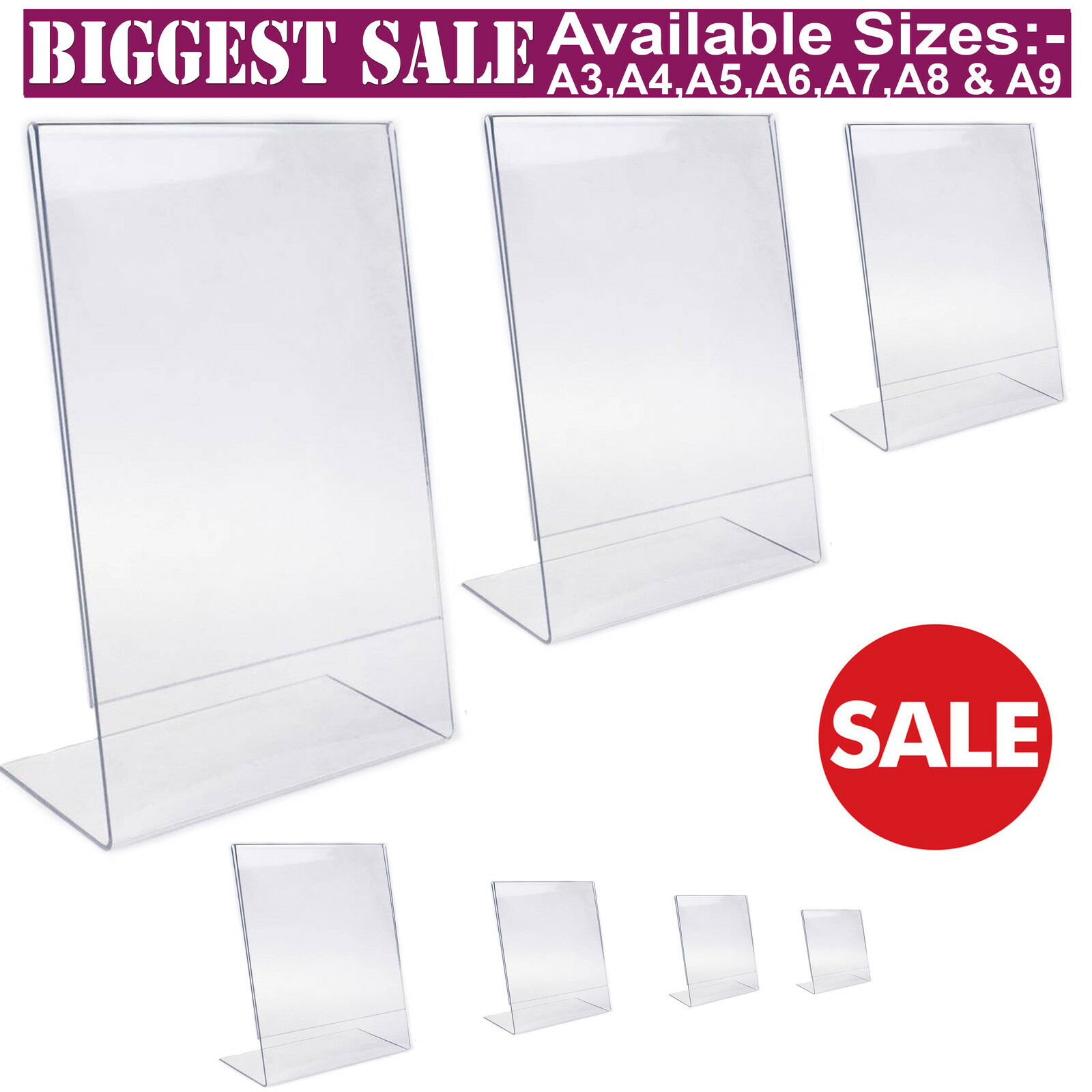 Acrylic Poster Menu Holder Perspex Leaflet Display Stands
