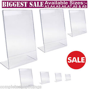 Acrylic Poster Menu Holder Perspex Leaflet Display Stands A3 A4 A5