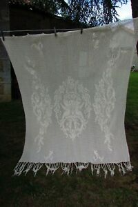 Antique-French-Hand-Crafted-Cotton-Crochet-Cherub-Curtain-Panel-c1920s-5ft-x-6ft