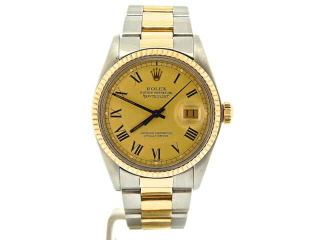 Mens Rolex Datejust 2tone 14k Yellow Gold/Stainless Steel Watch Gold Roman Dial