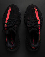 Adidas YEEZY boost 350 V2 Red Stripe Size 10 Core Black SPLY by Kanye West NEW