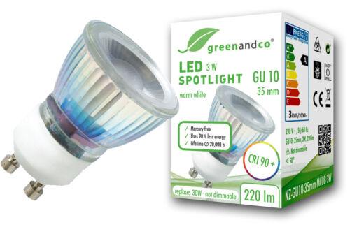 LED Spot ersetzt 30W GU10 35mm 3W 220lm warmweiß 50° 2 Jahre Garantie CRI 90