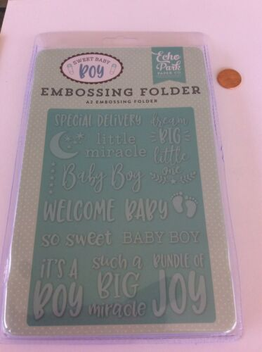Echo Park Special Delivery A2 Embossing Folder Baby Boy Shower Invitations 2018