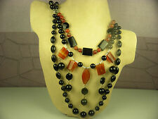 ARTISAN BLACK & AMBER/RED AGATE GEMSTONE MULTI-STRAND HANDCRAFTED NECKLACE