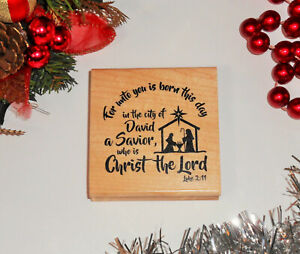 Birth of Christ Holidays Bible Verse Christmas Stamps Mounted Rubber Stamps