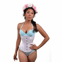 White Floral Bridal Underbust Corset Hourglass Waist Training Steel Boned Laceup