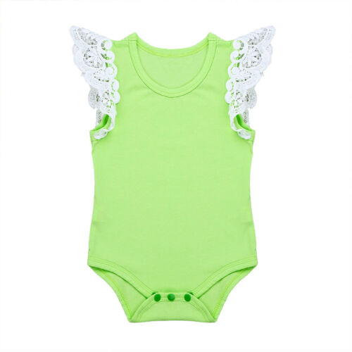 Newborn Infant Baby Girl Romper Jumpsuit Bodysuit Outfits Swan Lacework Clothes