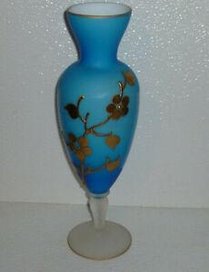 Art-Glass-Vase-Frosted-Pedestal-Blue-Gold-Vtg-11-5-034