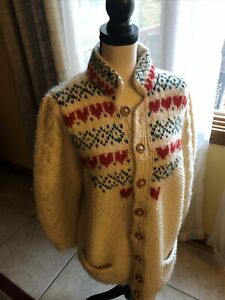 vintage-susan-bristol-sweater-100-Wool-Ivory-Cardigan-Size-Small