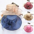 Elegant Lady Wide Brim Kentucky Derby Sun Hat Women Wedding Tea Party Church Cap