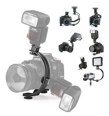Adjustable C-Shape 2 Flash Hot shoe Bracket Holder Mount LED Video Light Stand