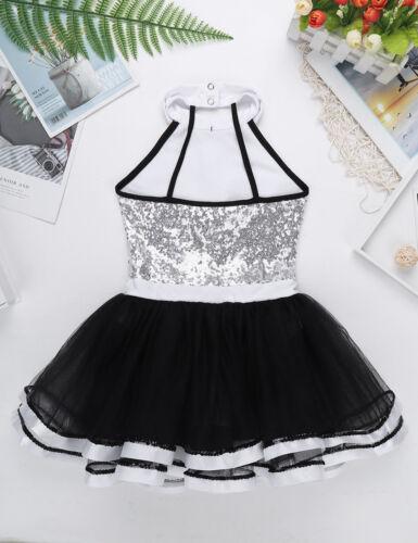 Mädchen Kleid Pailletten Ballettkleid Kinder Prinzessin Glitzer Tanzkleid 98-152
