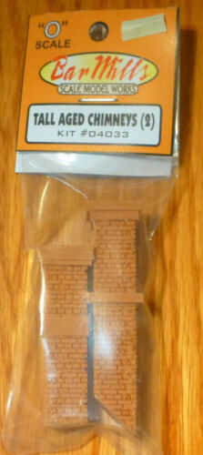 2 in pkg kit O Scale Tall Aged Chimneys Bar Mills #4033