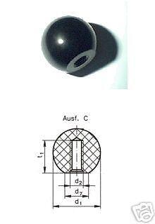 Kugelknöpfe rot DIN 319 Ø32 mm mit M8 Innengewinde Duroplast poliert Form C