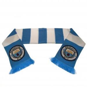 Manchester-City-FC-Man-Oficial-Escudo-Jacquard-Punto-Bufanda-a-Franjas-Regalo