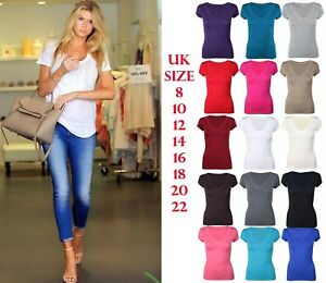 Womens-Stretchy-Fitted-Tee-Deep-V-Neck-Plus-Size-Short-Cap-Sleeve-T-Shirt-Top