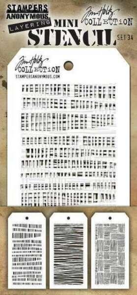 Tim Holtz Mini Layered Stencil Set 3//Pkg-Set #24 MTS-24