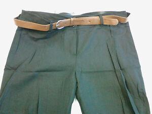 a6bf53f143d Womens Plus Size Linen Mix Pants No Pockets BLACK w Brown Belt NWT ...