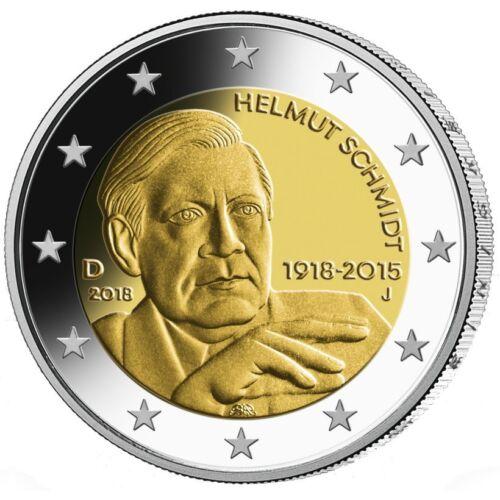J 2018 Germany 2 Euro UNC Coin Helmut Schmidt 100 Years Hamburg Mint