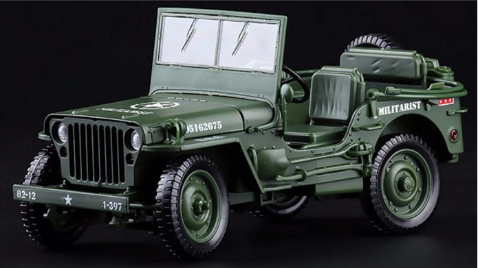 1/4 Ton US Willys Army Jeep with 1:18 Diecast Model Car verde Military Model