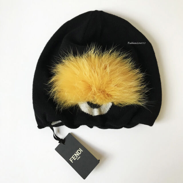 549718cd0a7 Fendi Monster Bug Eye Black Yellow Beanie Cap Hat for sale online