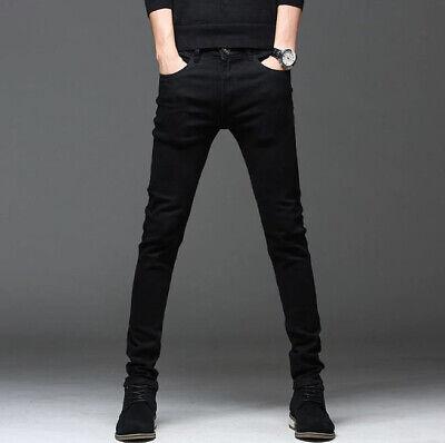 Jeans para hombre casual delgado elástico negro denim pantalones moda hombres