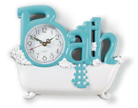 Blue Bathroom Wall Clock Bath Powder Room Hanging Home Accent Decorative