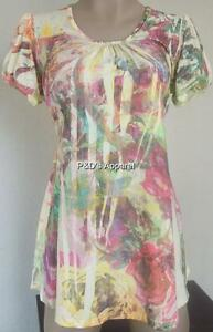 Womens Maternity Shirt Top Yellew Flower Print Cap Sleeve Blouse Size S New