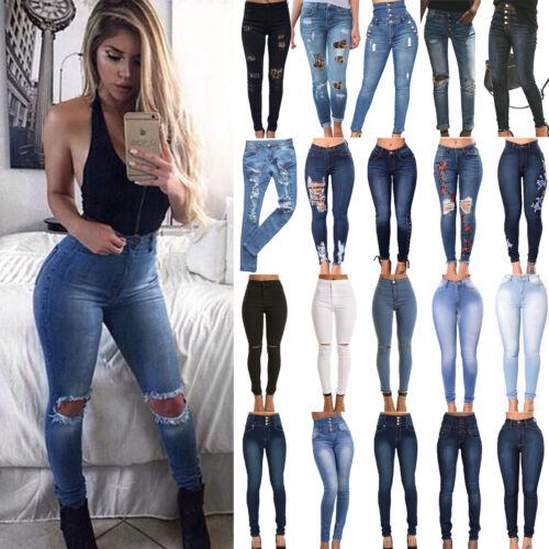 Womens High Waist Ripped Jeans Jeggings Casual Trousers Denim Slim Skinny Pants