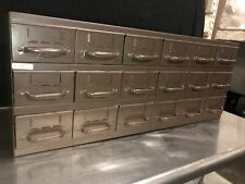 Vtg Equipto 18 Drawer Industrial Metal Small Parts Cabinet 34w X11d X 13 12h