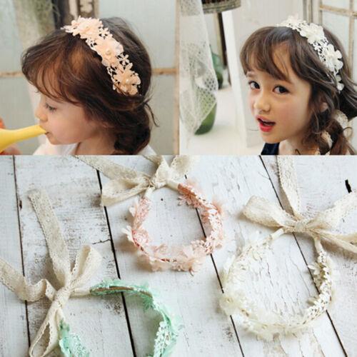 Cute Girl Headband Long Lace Ribbon Flower Hairband Kids Hair Accessories、Fad