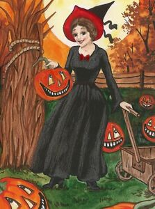 1.5x2 DOLLHOUSE MINIATURE PRINT OF PAINTING RYTA 1:12 SCALE HALLOWEEN WITCH ART