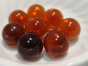 8-Vintage-Jewel-Gem-Marbles-1IN-Shooters-Root-Beer-Brown-Very-Pretty-Set