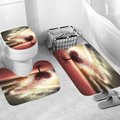 Love Tree Shower Curtain Bathroom Rug Set Bath Mat Non-Slip Toilet Lid Cover