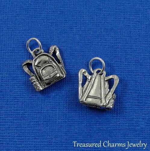 Silver BACKPACK School Child Hiking Camping CHARM PENDANT