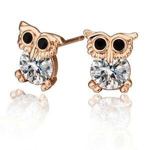Image Is Loading Childrens Kids Cute Owl Stud Earrings Rose Gold