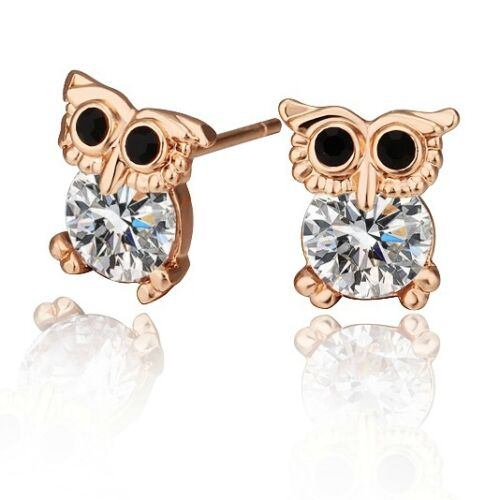 Childrens kids cute owl stud earrings rose gold cz jewellery quality UK seller